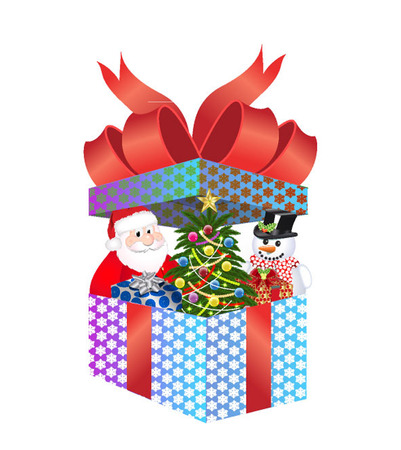 CHRISTMAS PRESENT WITH SANTA SNOWMAN Vector