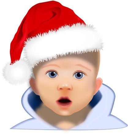 BABY IN SANTA HAT Vector