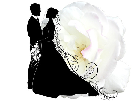 wedding couple: HUWELIJKSPAAR Stock Illustratie