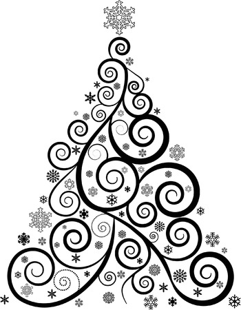 ORNATE SWIRL CHRISTMAS TREE AND SNOWFLAKES Illustration