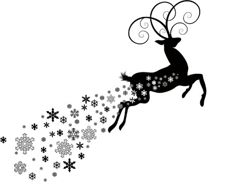 雪と鹿  イラスト・ベクター素材