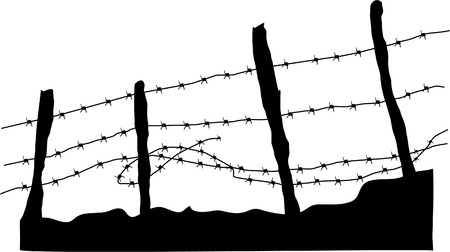wire fence: BARBED WIRE