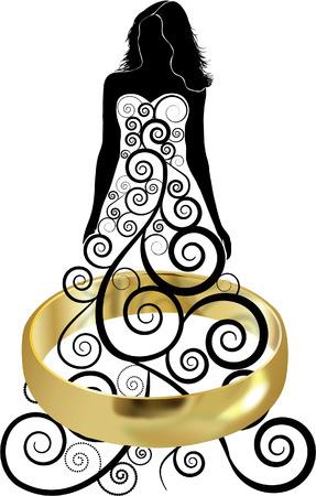 WEDDING RING WITH BRIDE  イラスト・ベクター素材
