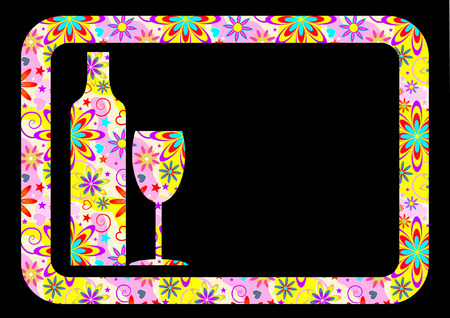 WINE GLASS AND BOTTLE BACKGROUND Vector