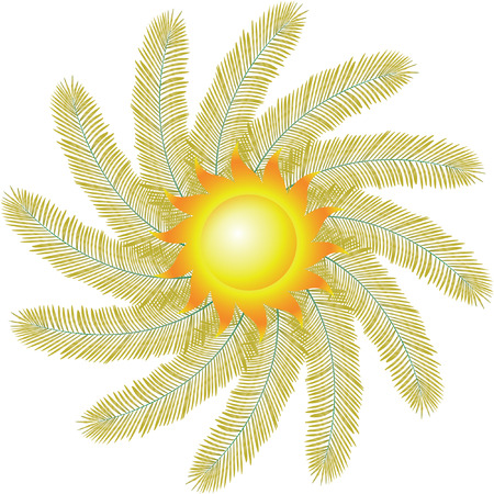 SUN AND PALM Vector