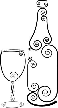 aligote: WINE BOTTLE AND WINE GLASS