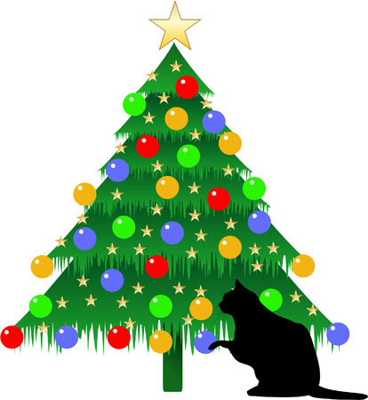 CHRISTMAS TREE WITH CAT Vector