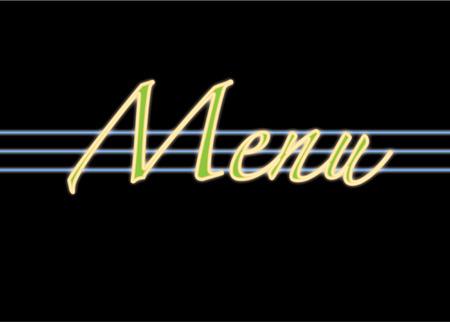 menu neon sign Vector