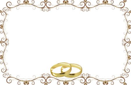 dorado: anillos de boda invitación