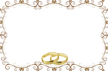 golden frame: wedding rings invitation