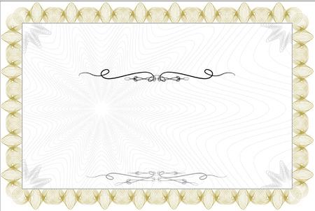 装飾的なボーダーを持つ空白のギョーシェ スタイル証明書  イラスト・ベクター素材