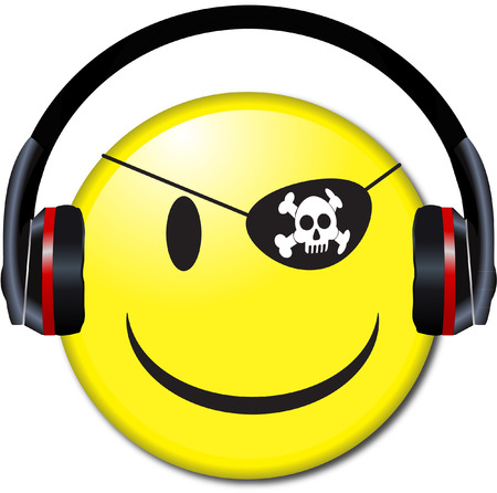 Smiley Face button wears Headphones Illustration