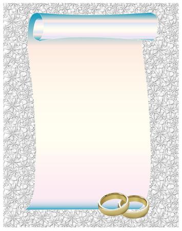 Beautiful Wedding Rings Frame Vector