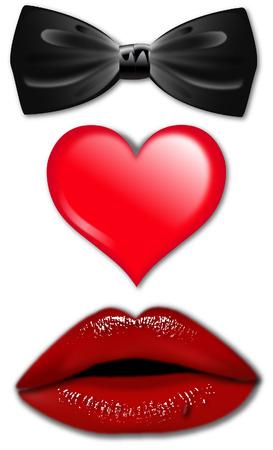 bow tie lips heart valentine Vector