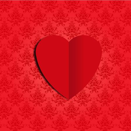wallpape: heart on damask