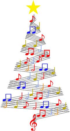 Rbol de la música de Navidad Foto de archivo - 35862383