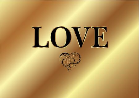 GOLD LOVE WORD Vector