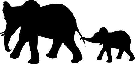 dessin noir et blanc: ELEPHANT ET BÉBÉ