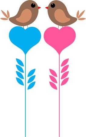 HEART BIRDS  イラスト・ベクター素材