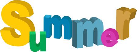 sumer: summer word Illustration
