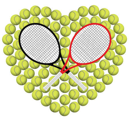 eps picture: TENNIS HEART WITH BATS Illustration