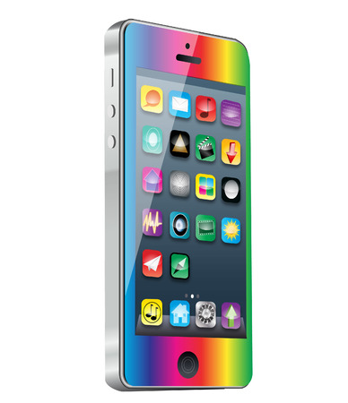 royalty free illustrations: smart phone with app and rainbow finish Stock Photo