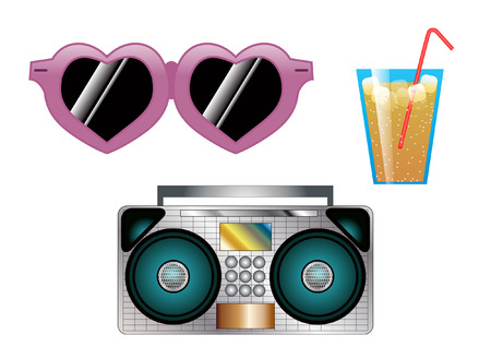 bikini top: Sunglasses drink radio Illustration