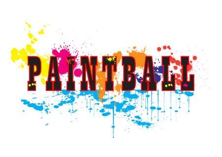 Paintball logo vector art with ink splashes Illustration