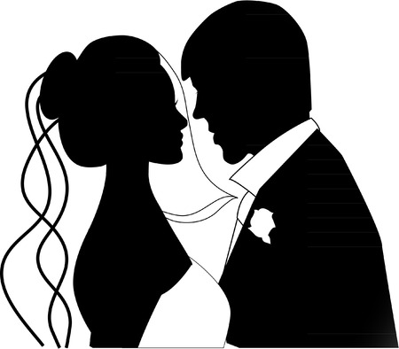 black and white image drawing: wedding couple