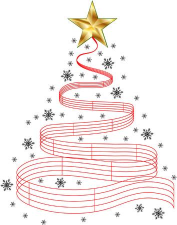 nota musical: árbol de navidad de la música Vectores
