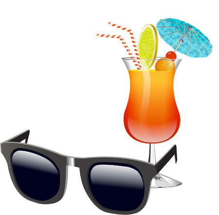 vector image: cocktail and sunglasses Illustration