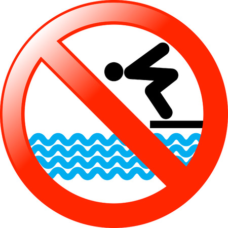 warning against a white background: No diving