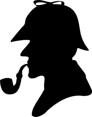 silhouette pipe smoker Illustration