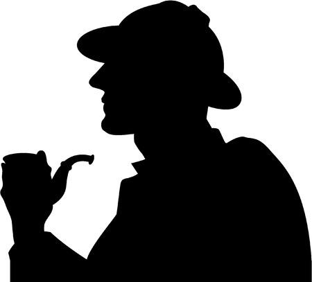 smoker: silhouette pipe smoker Illustration