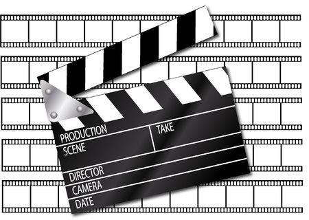 movie clapper: Movie clapper with film strips Illustration