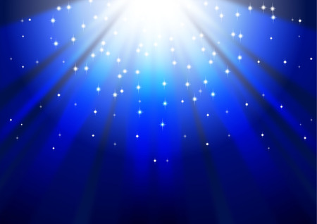 agic stars descending on beams of light