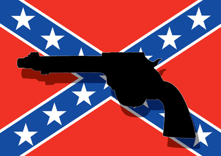 confederate: Confederate flag with hand gun Illustration