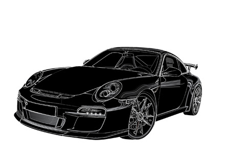Silhouette auto sportive Archivio Fotografico - 52023264