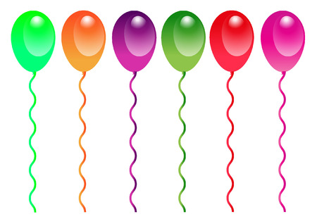 Birthday Celebration Balloons Isolated on White Background