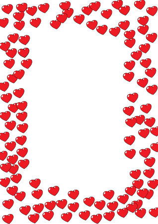 A border illustration of red valentine hearts