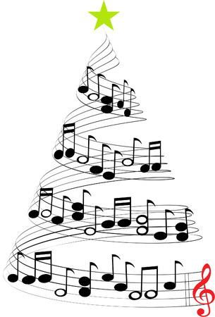 partition musique: MUSIQUE DE NOËL ARBRE Illustration
