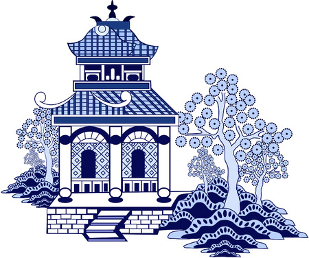 china art: Chinese pagoda. Hand drawn vector isolated on white