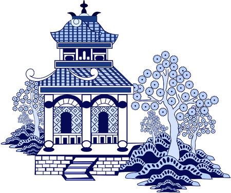 pagoda china. vector dibujado a mano aislado en blanco Ilustración de vector
