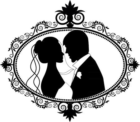 Pares de la boda siluetas Ilustración de vector