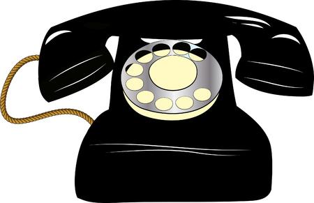 antiquated: black old telephone Illustration