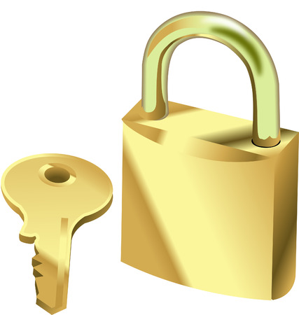 stock photograph: Padlock and key