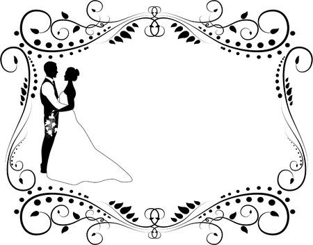 結婚式のカップルのシルエット  イラスト・ベクター素材
