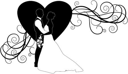 silueta de par de boda