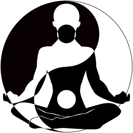 Silhouette of man with symbols Illustration