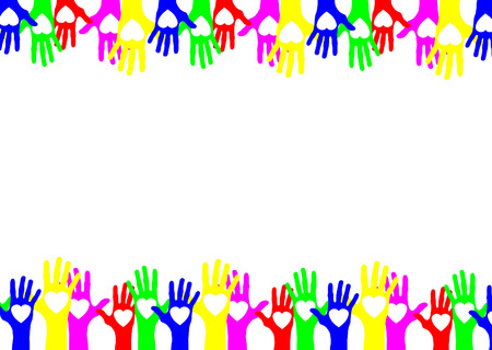 helpers: colourful hands Illustration